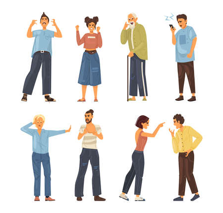 Angry people person. Conflict colleagues, disagreements, negative emotions, aggressively emotionally relationship people. Elderly, couple quarrel, quarrel between husband, wife, friends cartoon vector Vettoriali