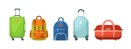 Travel luggage, metal backpacks, plastic case and leather bag. Travel suitcase with wheels, journey package, business travel bag, trip luggage. Backpack suitcase for journey, vacation, tourism vector 免版税图像 - 157526408
