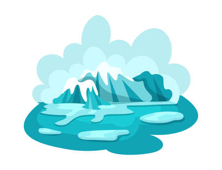 Natural disasters melting glaciers. Arctic landscape with blue sky and iceberg. Global warming, cataclysm, catastrophe, destruction of nature cartoon vector illustration
