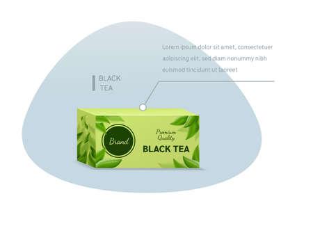 Box of black tea bags mockup on a light background vector illustration 矢量图像