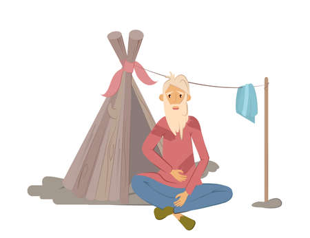 Homeless people concept. Elderly man begging money and needing help, isolated vector illustration. Unemployment poor man in rags, sitting near of temporary ramshackle hut on street. Vektorgrafik