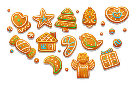 Gingerbread holidays cookies font alphabet. Christmas or New Year winter food with glazed sugar. Gingerbread cookies in shape of tree, house, lollipop, bell, heart, gift box, bird, candy, angel vector Illusztráció