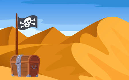 Bright landscape, view of desert with mountains, hills, loose sand, endless expanses with pirate wooden treasure chest, pirate flag. Pirate theme vector illustration