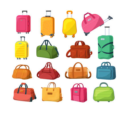 Travel luggage, plastic case, metal backpacks and leather bag. Travel suitcase with wheels, journey package, business travel bag, trip luggage. Vector backpack suitcase for journey, vacation, tourism. 矢量图像