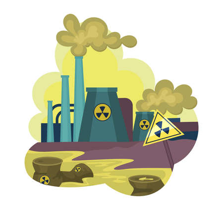 Environmental pollution by industrial dirty waste, nuclear pollution. Smoke through the pipes gets into air, toxic waste chemicals in water. Factory pollute nature, waste industrial production vector