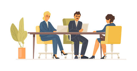 Interview job woman with an hr manager and vacancy director. Headhunting, recruitment, staff search, employment service, resume review. Hiring on work, job seekers at interview vacancy cartoon vector