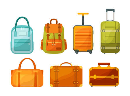 Travel luggage, metal backpacks, plastic case and leather bag. Travel suitcase with wheels, journey package, business travel bag, trip luggage. Backpack suitcase for journey, vacation, tourism vector 矢量图像