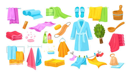 Bath accessories cartoon set. Differents bath towels, bathrobes, hygiene products, towels in stack rolled, clothes dryer, hanging accessories, soap dishes, brooms for bathroom cartoon vector