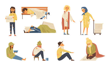 Homeless people concept. Unemployed homeless people without housing on the street. Elderly needing help. Adult person begging money alms, rummage in garbage can, sleeping on bench cartoon vector