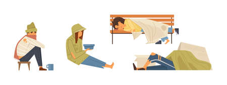 Homeless people concept. Unemployed homeless people without housing on the street. Adult person begging money alms, sleeping on bench and road cartoon vector