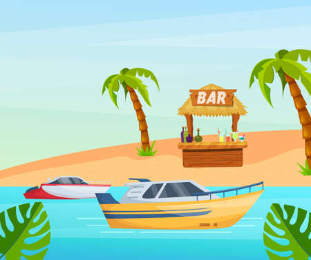 Maritime ships at sea, boat near tropical beach with palm. Water transportation tourism transport cartoon vector illustration