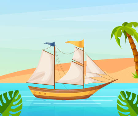 Maritime ships at sea, sailboat with sails near tropical beach with palm. Water transportation tourism transport cartoon vector illustration