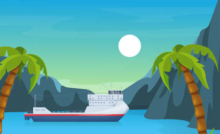 Maritime ships at sea, ferryboat near tropical palm and mountain. Ferry boat water transportation tourism transport cartoon vector illustration Vector Illustratie