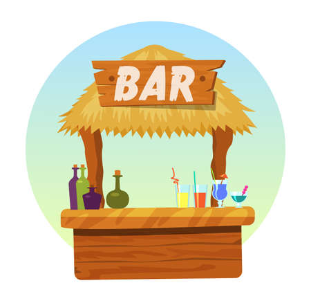 Tiki bar with signboard. Hut or bar with thatched roof and exotic cocktail in mug, glass wineglass. Summer poster vector illustration