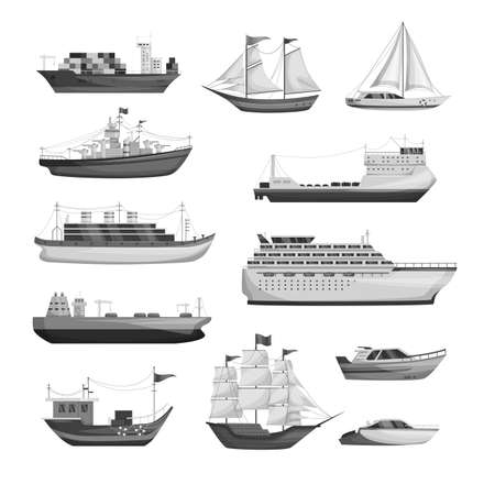 Maritime ships silhouette, shipping boats, sailboat, yacht sailing, cargo cruise ship, steamship, vessel, frigate with sails, battleship, tanker. Water transportation boat tourism transport vector