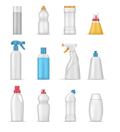 House cleaning products realistic mockup. Cleaning supplies for home, chemistry sprays household, realistic template bottles different shapes on white background for toilet, bathroom, household.