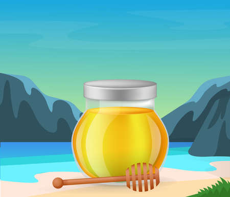 Honey product. Glass transparent jar with full of honey and wooden spoon dipper on beautiful tropical landscape and mountains background vector illustration