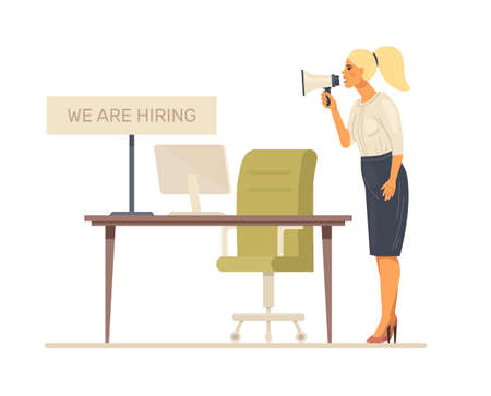 Staff search. Recruiting for business, job hiring, search for an employee for vacant position. Job managers woman with loudspeaker invites you to work cartoon vector