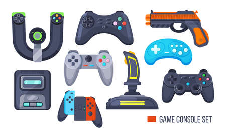 Set game console. Gamepad, playing joystick, video console, joy video games gadgets, wireless gamepad steering wheel. Retro modern devices for gamers gaming consoles cartoon vector