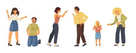 Angry people person. Conflict colleagues, disagreements, negative emotions, aggressively emotionally relationship people. Elderly, couple quarrel, quarrel between husband, wife, friends cartoon vector Archivio Fotografico - 158666063