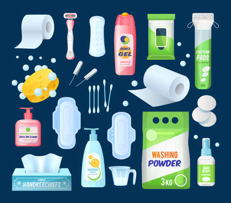 Hygiene product personal care. Realistic woman pads, tampons. Shower gel, oil, antibacterial spray, wet wipes, paper napkins, cotton pads, buds, shaving machine, toilet paper, washing powder vector