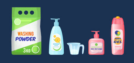 Hygiene product personal care. Shower gel, oil, antibacterial spray, washing powder with measuring cup, shampoo cartoon vector illustration Çizim