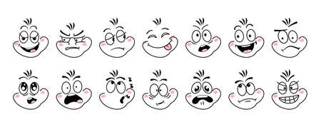 Cartoon face emoji eye. Expressive emotion eyes and mouth, smiling, crying and surprised character face. Emotions of joy, surprise, doubt, gloom, sarcasm, cunning, resentment, embarrassment vector