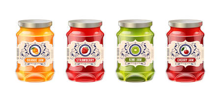 Jar label mockup. Glass realistic jars with labels fruit jam. Retro vintage templates for labels of berry jam - strawberry, kiwi, orange, cherry. Templates packaging for jam identity, branding vector