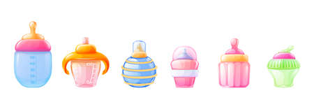 Realistic baby milk bottle set. Colorful colorful bottles for feeding a newborn baby differents shape with pacifier nipples, color plastic handles and measurement scale volume vector 3d isolated