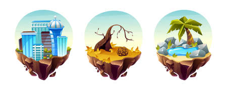 Game islands collection. Landscape with houses, arid area, with dry trees and branches, stone landscape with oasis. Nature landscape of earth for game design cartoon vector