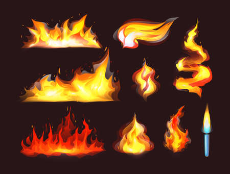 Realistic fire flames set. Red burning fire flame and orange hot flaming heat explosion cartoon, hot flame energy, fire animation cartoon vector illustration