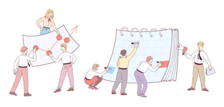 Creative planning schedule with calendar. Teamwork, increase financial result. Team together is engaged in financial planning. Team leader with loudspeaker motivates employees flat doodle line vector  イラスト・ベクター素材