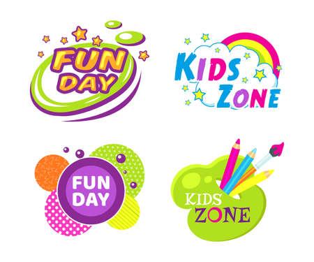 Kids zone fun day entertainment set childish banner label sticker badge logo. Cartoon colorful logo for children's playroom decoration, fun play, kids zone vector illustration