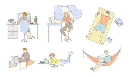 Freelance people work at home and outdoor. They work at home, comfortably organize their workspace, resting in nature lying in hammock on beach. Freelancers working on laptops, tablet flat vector