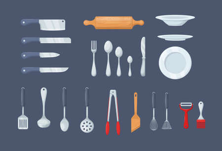 House cookware utensils for cooking. Set of kitchen knives, cutlery forks, spoons, set of ladles, potholders, tongs, spatulas, plates, whisks and brushes for baking, peel cleaner cartoon vector
