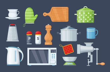 House cookware utensils for cooking. Kitchenware cooking objects, equipment for cooking kitchen scales, mug, meat grinder, grater, mitten, microwave oven, electric kettle, saucepan cartoon vector