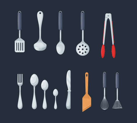 House cookware utensils for cooking. Set of kitchen knives, cutlery forks, spoons, set of ladles, potholders, tongs, spatulas, whisks and brushes for baking cartoon vector 向量圖像