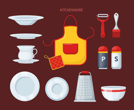 House cookware utensils for cooking, metallic and ceramic kitchen crockery. Kitchenware cooking objects, equipment for cooking cartoon vector