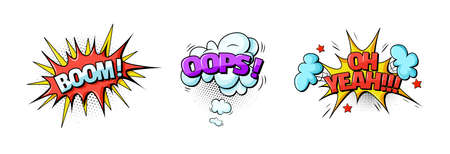 Comic speech bubble. Speech clouds with quotes, exclamations, surprise, admiration, anger, sound effects pop art boom, oops, yeah. Cartoon vector pattern with comic speech bubble, boom, burst clouds.