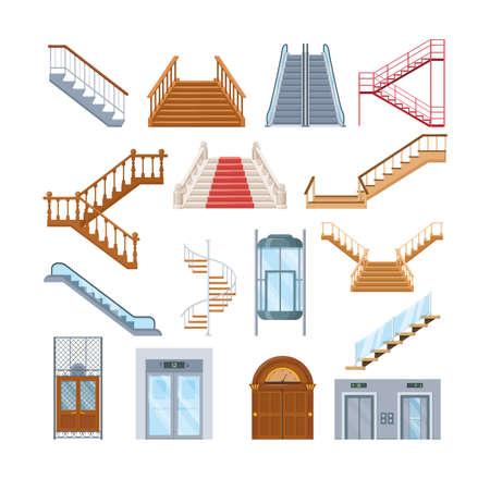 Wooden, metal staircase with handrails. Wooden staircases covered with red carpet, spiral staircase, store escalator, floor to floor ladder. House office interior with lift mechanisms cartoon vector Ilustración de vector