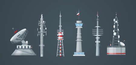 Communication towers set. Radio wireless masts and telecommunication towers, radio tv antenna. Communication satellite antenna, wireless television broadcast isolated vector