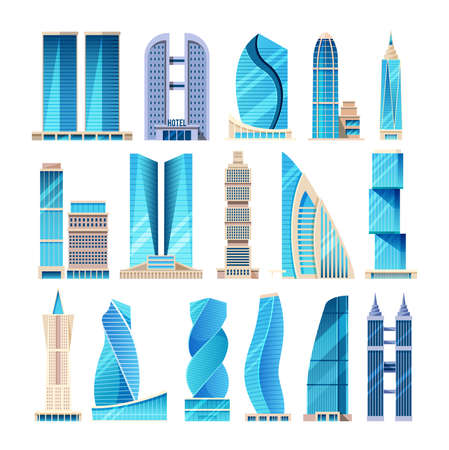 Future city. Modern high-rise city skyscrapers. Office city apartment buildings, high-rise house residential, towers city business architecture, popular business centers and other real estate vector