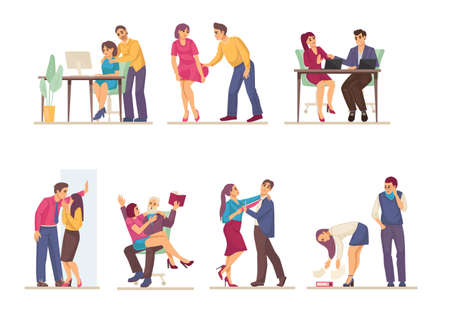 Sexual harassment, assault, abuse incident in office. Sexual harassment violence and bullying between female and man employee, boss and worker, sexism discrimination cartoon vector