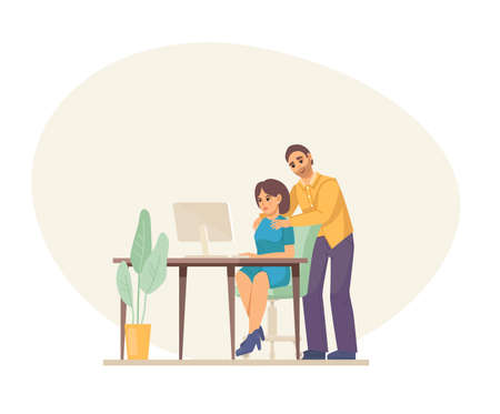 Sexual harassment, abuse at office. Man boss harassing female worker at workplace, puts hands on woman shoulders. Sexual harassment violence and bullying between female and man employee cartoon vector Vector Illustration