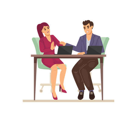 Sexual harassment, assault, abuse incident in office. Sexual harassment between female and man employee, sexism discrimination. Girl strokes hand of man while sitting with him at same table vector Vector Illustration