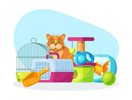 Pet shop. Animal food, accessories and toys domestic store. Pet shop supplies and accessories: aquarium, fish, parrot cage, carrier for cats, leash-collar, house for rodents, ball cartoon vector