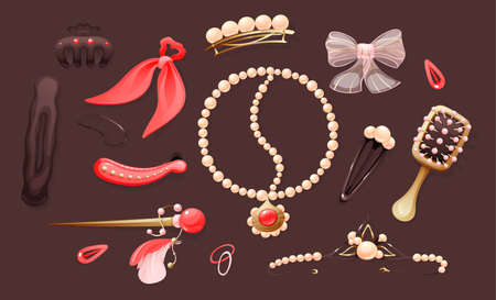 Hairdressers fashionable, beautiful hairpins for styling and hair care. Hairpins, combs, braslet, brooch, hair clips for female salon concept. Hairdressing accessories isolated on color background.