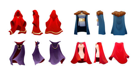 Realistic magic red cape of cloak costume, Dracula vampire carnival costume, women superhero, military leader, princely commander. Carnival medieval king cloak. Clothing front back behind view vector Vecteurs