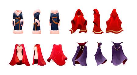 Realistic magic red cape of cloak costume, Dracula vampire carnival costume, women superhero, military leader, princely commander. Carnival medieval king cloak. Clothing front back behind view vector Vektoros illusztráció