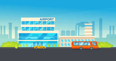 Airport terminal building and airplanes, taxi, car, loader. Airplane on the runway an urban landscape background. Modern architecture building airport. Public transport, taxi cars vector illustration